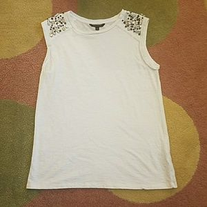 Banana Republic White beaded tank top